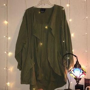 Green oversized cardigan